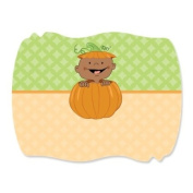 Little Pumpkin African American - Squiggle Party Favour Sticker Labels