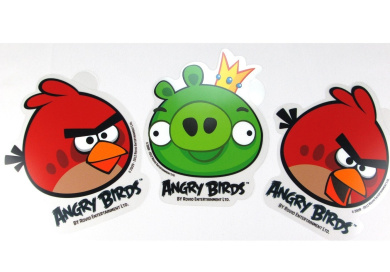 3 Piece Angry Birds Stickers (Two Red Birds and King Pig) - Angry Bird Car Window Stickers