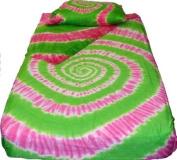 Pink n Green Spiral Tie Dye Bedding - Twin XL