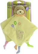 Baby Bow Teddy Bear Rattle Blanket in Yellow by Russ