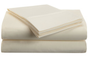 Vanessa Collection Microfiber Twin Ivory Solid Sheet Set