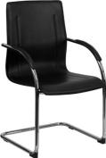 Flash Furniture BT-509-BK-GG Black Vinyl Side Chair with Chrome Sled Base