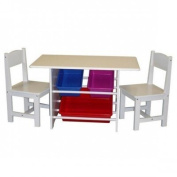 RiverRidge Home Products 01-004 Kids Table With 2 Chairs And 3 Plastic Storage Bins