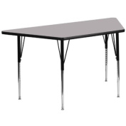 30''W x 60''L Trapezoid Activity Table with Grey Thermal Fused Laminate Top and Standard Height Adjustable Legs [XU-A3060-TRAP-GY-T-A-GG]
