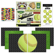 Scrapbook Customs Go Big Softball Themed Paper and Stickers Scrapbook Kit