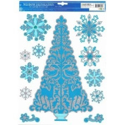 Holiday Christmas Tree and Snowflakes Window Clings Glitter Accents