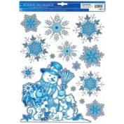 Snowman and Snowflakes Winter Window Clings