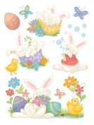 Easter Clings w/ Glitter 30cm x 43cm Reusable Vinyl Static Window Cling Cutouts - Cute Charming Easter Bunnies