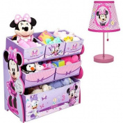 Disney - Minnie Mouse Multi-Bin Organiser & Table Lamp - Value Bundle