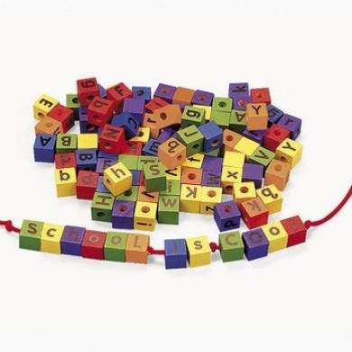 104 Colourful Wood Alphabet Lacing Beads