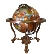 33cm Tall Amber Pearl Swirl Ocean Table Top Gemstone World Globe with Copper Tripod Stand