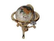 Uniquea Art 33cm Tall Pearl Ocean Table Top Gemstone World Globe with Gold Tripod