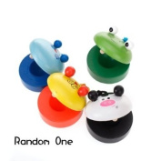 Baby Animal-Patterned Round Wooden Castanet Toy Musical Instrument Toy