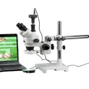 AmScope 7X-180X LED Boom Stand Stereo Zoom Microscope + 9.1MP Camera