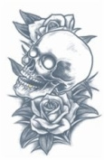 Skull and Roses Prison Temporary Tattoo