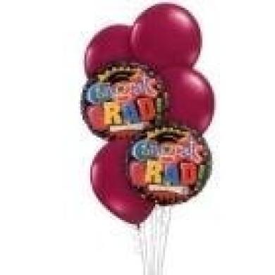 Graduation Balloon Bouquet - Burgundy Congratulations Grad Bouquet - 6 Balloons