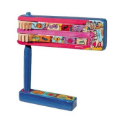 Yair Emanuel Wooden Purim Hand Painted Gragger - Noise Maker & Stand
