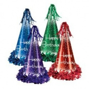 Fringed Foil Happy Birthday Party Hats (asstd colours) Party Accessory