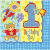 Amscan International Hugs and Stitches Boy Party Napkins, Pack of 16