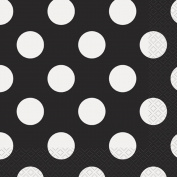 Luncheon Napkins 17cm x 17cm 16/Pkg-Midnight Black Decorative Dots