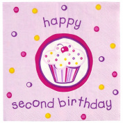 Girl's Lil' Cupcake 2nd Birthday Napkins