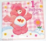 Care Bears Girl's First Birthday Beverage Napkins - 16 Count