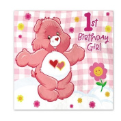 Care Bears Girl's First Birthday Luncheon Napkins - 16 Count