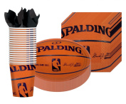 Spalding Basketball - Party Supplies Pack Including Plates, Cups, and Napkins- 18 Guests