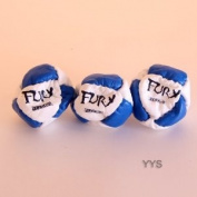 Zeekio- Three Fury Footbags -14 Panel Leather -Sand Fill -Blue and White