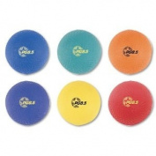 Champion Sports - Playground Ball Set, Nylon, Assorted Colours, 6/Set - Sold As 1 Set - Two-ply, nylon-wound construction.