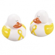 12 Yellow Awareness Ribbon Rubber Duckies