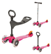 Mini Micro 3in1 Scooter Pink with Seat and O-Bar Handle
