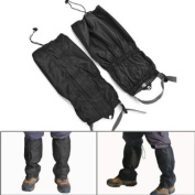 1 Pair Jet Black Unisex Double Sealed hook and loop Zippered Closure TPU Strap Waterproof Breathable 400D Nylon Cloth Leg Gaiters Leggings Cover for Rain Winter Outdoor Sports Activities