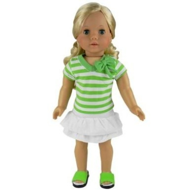 46cm Doll Clothes, . Striped Shirt in Green & White plus a White Layered Skirt Set, Fits American Girl Dolls, (Doll Shoes Sold Separately) Green Striped Shirt/White Skirt Set