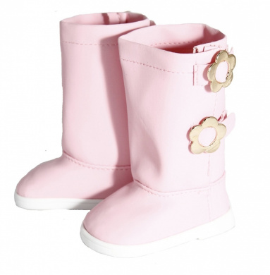 Pink Boots with Flower Buckle for 46cm Dolls Like American Girl
