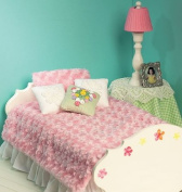 McCall Patterns M6718 Bed Mattress and Bedding Ensemble for 46cm Doll, Table Skirt, Lamp and Night Stand Sewing Template, One Size Only