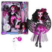 """Mattel Year 2012 Monster High """"Ghouls Rule"""" Series 30cm Doll Set - Draculaura """"Daughter of Dracula) with Mask, Over-the-Shoulder Wings, Pumpkin Basket, Skeleton, Hairbrush and Display Stand"""