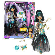 """Mattel Year 2012 Monster High """"Ghouls Rule"""" Series 30cm Doll Set - Cleo de Nile """"Daughter of The Mummy) with Mask, Coctail Bowl with Cup and Ladle, Pumpkin Basket, Hairbrush and Display Stand"""
