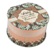 Cottage Garden Sister Belle Papier Round Musical Jewellery Box with Damask Finish Plays Thats What Friends Are For