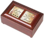 Cottage Garden Sister Woodgrain Petite Music Box / Jewellery Box Plays That'S What Friends Are For