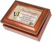 Cottage Garden Granddaughter Woodgrain Music Box / Jewellery Box Plays Light Up My Life