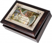 Cottage Garden Angel In The Garden Burlwood With Silver Inlay Italian Style Music Box / Jewellery Box Plays Amazing Grace