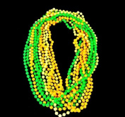 ~ 12 ~ Glow in the Dark Bead Necklaces ~ 80cm ~ 7.5 Millimetre Beads ~ New ~ Mardi Gras Party Favours, Toy Necklaces