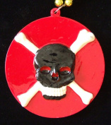 Blood Red Pirate Skull Mardi Gras Bead Necklace Spring Break Cajun Carnival Festival New Orleans Beads