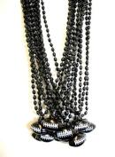 33 Inch - 6x9mm Oval Black Mardi Gras Beads with Football Pendant - Dozen