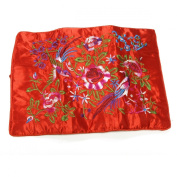 Large Silk Embroidered Jewellery Rolls - Red