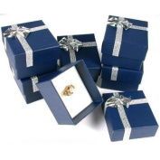 6 Blue Bow Tie Ring Gift Boxes Jewellery Displays