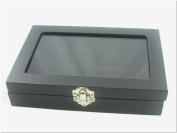 Small Glass Top Lid Black Velvet Jewellery Display Box for Rings, 5 Continuous slots