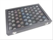 Glass Top Black Velvet 120 slots Jewellery Display Box for Ring Cuff Link Cufflinks