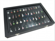 Glass Top Lid Black Velvet Jewellery Display Box for Pendants Charms, 56 Clips